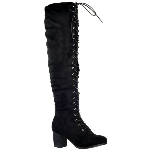 Lace Up Boots Chunky Block Heel